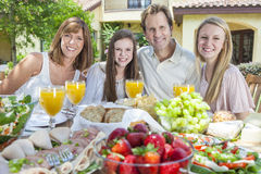 Parents Children Family Healthy Eating Outside Stock Photo