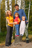 Parents with children in forest Stock Photography