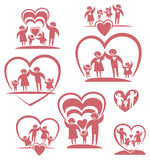 Parents and children icon set. Stock Photography