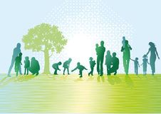 Parents and children. An illustration of silhouettes of parents and children on meadow or park stock illustration