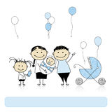 Parents with children, newborn baby Stock Images