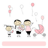 Parents with children, newborn baby Royalty Free Stock Photography