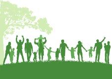 Parents with children outdoor vector illustration