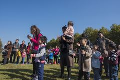 Parents and children of parent-child activities in yixing longback mountain park Stock Photos