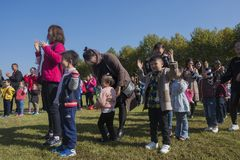 Parents and children of parent-child activities in yixing longback mountain park Stock Image