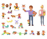 Parents and children. Playground infographic elements vector flat illustration, parents or babysitter and children play in a park and indoor. Funny cartoon Royalty Free Stock Image