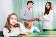 Parents and children after quarrel Stock Photos