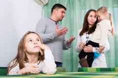 Parents and children after quarrel Royalty Free Stock Images