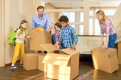 Parents and children, relocation. Stock Images