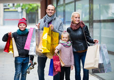 Parents with children shopping in city Royalty Free Stock Photography