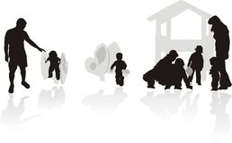 Parents and children, silhouette Royalty Free Stock Photos