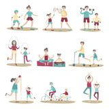 Parents and children together doing sport and active recreation outdoors. Vector illustration set, isolated on white. vector illustration