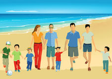Parents and children walking on the beach. Colorful illustration of parents and children walking hand in hand on a golden beach with a tranquil blue sea behind Royalty Free Stock Photography