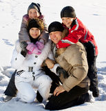 Parents with children in the winter. Family with children in the snow in winter Stock Photography