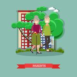 Parents concept vector illustration in flat style Royalty Free Stock Images