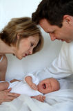 Parents with crying baby. Parents trying to soothe thier crying newborn baby Stock Photography