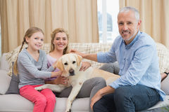 Parents and daughter with pet labrador Royalty Free Stock Image