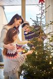 Christmas time with family stock photography