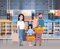 Parents With Daughter Shopping At Supermarket Buying Fresh Grocery Products, Consumerism Concept. Flat Vector Illustration Stock Photography
