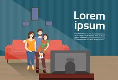 Parents With Daughter Watch Tv Sitting On Couch And Eat Popcorn In Living Room. Flat Vector Illustration Royalty Free Stock Photography