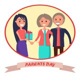 Parents Day Banner Showing Happy Family Stock Photography