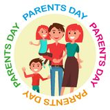 Parents Day Poster with Circle Inscription Royalty Free Stock Image