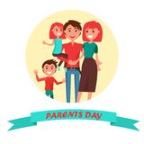Parents Day Poster with Circle Inscription Royalty Free Stock Images