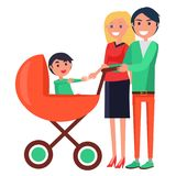 Parents Day Poster Depicting Family with Young Child Royalty Free Stock Image