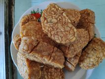 Fried tempeh, is a special food made from fermented soybeans with special mushrooms,  stock photos