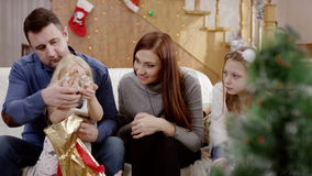 Parents don`t pay attention to sad daughter at the celebration of christmas stock video footage
