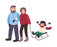 Parents drawing sled with their son. Mother, father and child having fun outdoors together. Winter leisure activity vector illustration