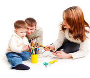 Parents drawing with son Royalty Free Stock Photography