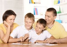 Parents drawing with sons Stock Photos