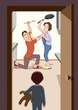 Parents fighting. Family quarrel. Vector illustration. Jpeg, EPS Royalty Free Stock Photography