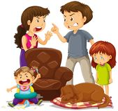 Parents fighting in front of children at home. Illustration Stock Photos