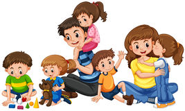 Parents with five children playing Stock Photos