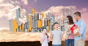 Parents gifting puppy to excited children with drawn city in background. Digital composite of Parents gifting puppy to excited children with drawn city in Royalty Free Stock Photography