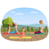 Parents with girl kid does yoga various exercises. Family yoga vector illustration. Stock Image