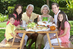 Parents Grandparents Children Family Eating. An attractive happy, smiling family of mother, father, grandparents, son and daughter eating healthy food at a Royalty Free Stock Photography