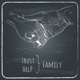 Parents hand lead his child , trust family concept Stock Photo