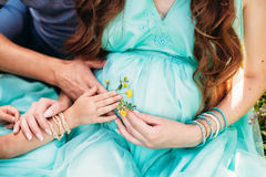 Parents hands are holding flower on the pregnant belly. Family, maternity concept. Parents and first child hands are holding flower on the pregnant belly royalty free stock photo