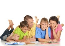 Parents help children do  homework Royalty Free Stock Images