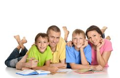 Parents help children do their homework Royalty Free Stock Photography
