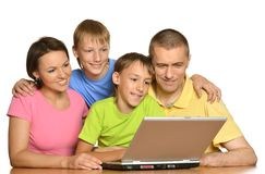 Parents helping boys with homework Stock Photos