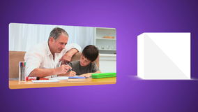 Parents helping their child to do their homework stock footage