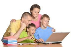 Parents are helping their sons Stock Image