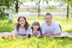 Parents heureux avec le bébé en parc images stock