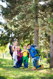 Parents hiking with their children Royalty Free Stock Images