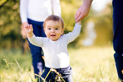Parents holding hands of their son making first steps Royalty Free Stock Photos