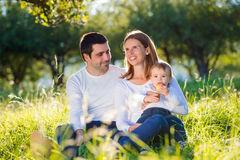 Parents holding their little son, sitting on the grass Stock Photography